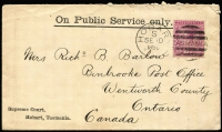 Lot 1211:1896 (Sep 10) Supreme Court (Hobart) printed cover to Canada with 2½d Tablet tied by Hobart duplex, on reverse, Hamilton & Binbrook (Ontario) backstamps, fine condition with Government of Tasmania crest on flap.