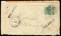Lot 1212:1899 (May 6) cover to Glenelg (SA) with Adelaide transit & (small-part) Glenelg arrival backstamp where opened & resealed, on face 'ADVERTISED UNCLAIMED/ADELAIDE' oval double-ring datestamp & straight-line 'UNCLAIMED' handstamps, on reverse DLO/Adelaide datestamp in red & DLO Tasmania oval datestamp in blue, edge blemishes.