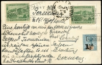 Lot 861 [1 of 2]:1908 (Feb 14) PPC to Germany with ½d Pictorial x2 plus 1½d on 5d Tablet all tied by individual 'LOOSE SHIP LETTER' boxed handstamps, one ½d additionally tied by Melbourne transit datestamp, view side (central stain) shows a Scamander River scene. Nice item.