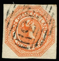 Lot 843:1853 Imperf Courier Plate II 4d orange [Pos 2] SG #10, tidy BN cancel with faded pen cancel beneath, Cat £425. RPSL Certificate (1952).