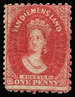 Lot 1126 [2 of 2]:1857-67 Imperf Chalon Wmk Double-Lined Numeral 1d brick-red SG #27 Watermark inverted pair, with forged pin-perfs, BN '48' cancel; also 1d carmine SG #59 P10x10x10x12½ with forged (P12½) perforations at left, unused. Both items with negative RPSV Certificates. (2)