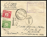 Lot 1701:1948 Cachet Type IX SG #C11, on cover to England, Cape Town paquebot datestamp, 'T'-in oval & '1½d' tax markings applied on arrival with 1d & ½d Dues added & tied by Richmond-on-Thames datestamps.