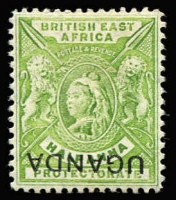 Lot 1702:1902 QV Overprints on British East Africa ½d yellow-green QV variety 'UGANDA' overprint inverted at foot of stamp, SG #92b, fine mint, Cat £2,250. Very rare.