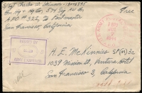 Lot 1557:New Guinea 1944 Soldiers Free Mail cover sent from Battalion HQ, 574th Signal Automatic Weapons Battalion to California with APO '7BPO' datestamp in red and army censor handstamp in violet. Fine condition.