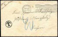Lot 1735 [1 of 2]:1906 (Apr 25) stampless earthquake mail cover to Germany, San Francisco machine cancel, New York tax handstamp, Ploessberg arrival backstamp, fine condition. Rare to an overseas destination. [Following the earthquake of the 18th April, the Post Office Department announced that mail from San Francisco was to be sent free of postage until further notice]