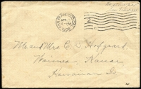"Lot 1736 [1 of 2]:1906 (Apr 25) earthquake mail cover to Hawaii endorsed ""No stamps/San Francisco"", San Francisco machine cancel, Honolulu & Waimea backstamps. Rare destination.[Following the earthquake of the 18th April, the Post Office Department announced that mail from San Francisco was to be sent free of postage until further notice]"