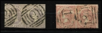 Lot 1137 [2 of 2]:1857-1858 Emblems Multiples comprising [1] 1857 imperf 2d pale lilac SG #45 pair with BN reversed '6' cancels, [2] 1858 imperf 4d dull rose-red on smooth vertically-laid paper (normal ink) SG #68 vertical pair with fine BN '152' cancel; [3] 1858 rouletted 4d pale dull rose on vertically laid paper SG #71 paiewith BN '184' cancels; handy group with nice cancels. (3)