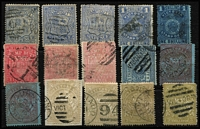 Lot 1138 [3 of 3]:1884-1901 Stamp Duty Selection to 15/-, majority with postal cancels, a few including 15/- with dubious or bogus cancels, generally fine. (24)