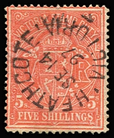 Lot 1138 [1 of 3]:1884-1901 Stamp Duty Selection to 15/-, majority with postal cancels, a few including 15/- with dubious or bogus cancels, generally fine. (24)