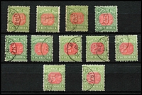 Lot 890 [3 of 5]:1890-1909 Old-Time Array for both issues, various shades & watermarks, values both mint and used to 5/-, some multiples, etc, with postmark interest including Melbourne CTO cancels; plus range of covers x15 and few pieces, etc; condition variable. (100s)