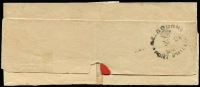 "Lot 1172 [2 of 2]:1846 (May 24) lettersheet addressed locally to ""His Honor C.J.Latrobe Esq/H.M. Superintendent"" with fine strike of 'FREE/MELBOURNE' boxed handstamp in red, backstamped 'MELBOURNE/(crown)/MY24/184[6]"