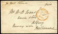 "Lot 1274:1854 (Apr 1) stampless cover from England endorsed ""pr Mail Steamer"" addressed to ""Albury/Murray river/Melbourne"", British 'PAID/1AP1/1854' datestamp on face, on reverse 'SHIP LETTER/FREE/JU21/1854/GPO VICTORIA' datestamp in red and largely very fine 'ALBURY/(crown)/JU24/1854/NEW S. WALES' oval datestamp in black."