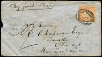 Lot 1280 [3 of 4]:1855-57 6d Woodblock frankings on cover comprising [1] 1855 to New Zealand with stamp tied by BO '1' cancel, Otago arrival datestamp, faults & backflap missing; [2] 1857 to England with stamp tied by BN '1' cancel London 'PAID' datestamp in red & Luton arrival datestamp. (2)