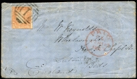 Lot 1280 [1 of 4]:1855-57 6d Woodblock frankings on cover comprising [1] 1855 to New Zealand with stamp tied by BO '1' cancel, Otago arrival datestamp, faults & backflap missing; [2] 1857 to England with stamp tied by BN '1' cancel London 'PAID' datestamp in red & Luton arrival datestamp. (2)