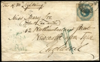 "Lot 1179:1855 (Apr 10) cover to England endorsed ""Per R.M. Lightning"" with imperf 1/- Octagonal tied by BO '1' cancel, Melbourne crown oval, Australian Packet/Liverpool & Newcastle-On-Tyne backstamps. Quite fine."