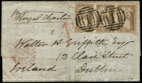 "Lot 1188:1857 (Jan 12) entire sent ""per Royal Charter"" to Ireland with Campbell & Fergusson 2d lilac QOT SG #36 strip of 3 cancelled with very fine BN '1' cancels, handstamped '1d' in red, Melbourne departure backstamp, 'AUSTRALIAN/PAID/LIVERPOOL/PACKET' transit datestamp on face & (Dublin) arrival backstamp."