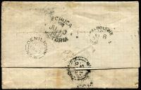 Lot 1187 [2 of 4]:1857 Riverina destination covers with single 6d Woodblock frankings tied by BN '1' cancels comprising [1] (Jun 8) mourning cover to Edward River via Echuca with Melbourne, Echuca & Moama backstamps; [2] (Jun 8) to Balranald via Maiden's Punt with Melbourne, Echuca, Moama & Deniliquin backstamps; small faults. (2)