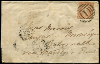 Lot 1187 [1 of 4]:1857 Riverina destination covers with single 6d Woodblock frankings tied by BN '1' cancels comprising [1] (Jun 8) mourning cover to Edward River via Echuca with Melbourne, Echuca & Moama backstamps; [2] (Jun 8) to Balranald via Maiden's Punt with Melbourne, Echuca, Moama & Deniliquin backstamps; small faults. (2)