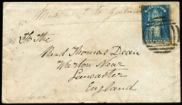 "Lot 902 [1 of 5]:1860-1905 Cover Selection comprising [1] 1859 Melbourne to Ararat with perforated 4d Emblems; [2] 1860 to England with rouletted 6d QOT, endorsed ""Missent to Zealand"", Melbourne departure & Lancaster arrival backstamps; [3] 1904 Tatts covers x2, one registered from Heidelberg, the other with Springhurst datestamp in violet; [4] 1905 Camperdown registered to USA with 5½d tri-colour franking. (5 items)"