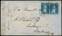 "Lot 1203:1860 (Feb 17) ½oz rate ""Via Marseilles"" cover to Scotland with attractive franking of 6d blue QOT pair tied Melbourne BN '1' killer cancels, Melbourne departure, Edinburgh entry & Prestonpans arrival backstamps, fine condition."