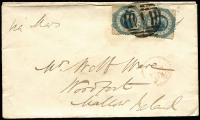 Lot 1210:1861 (Jun 25) envelope sent at 2/- 1oz rate to Ireland with perforated 1/- Octagonal pair tied by BN '1' cancel, Melbourne departure & Mallow arrival backstamps.