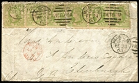 Lot 600:1863 (Feb 24) cover to Scotland with 1d Netted Corners strips of 3 x2, tied by Melbourne 'FE24/63' duplex cancels, London Paid transit and Edinburgh arrival backstamp, minor faults. A very rare franking.