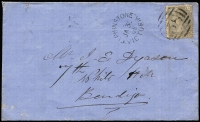 Lot 996 [1 of 2]:1868 (Jan 30) Dyason cover from Elphinstone to Bendigo with 2d Laureate tied by BN '38', on reverse Sandhurst & rare TPO 4 large octagon (only 10 recorded on cover) transits and White Hills arrival datestamp.