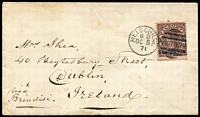 "Lot 1219:1871 (Dec 5) cover to Dublin ""Via Brindisi"" with 9d on 10d purple-brown/pink tied by Melbourne DC5/71 duplex, 'H&K PACT' backstamp, minor aging."