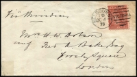 Lot 1222:1879 (Oct 4) National Bank of Australasia cover to London with Wmk '10' 8d red-brown/pink P12 SG #193 tied by Melbourne '1D/OC4/79' duplex cancel, some blemishes. Scarce stamp on cover.