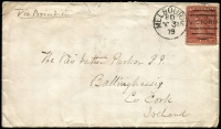 Lot 1223:1879 (Oct 31) cover to Ireland with 10d red-brown/pink Laureate P12½ SG #194 tied by Melbourne '8D/OC31/79' duplex cancel, edge blemish & flap faults. Rare stamp on cover.