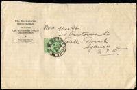 Lot 1230:1900 (May 2) The Australasian Intercollegian printed wrapper to Sydney with ½d emerald solo SG #331 tied by Melbourne double-ring (thick arcs) '21' datestamp.