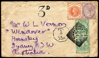 Lot 1083 [1 of 2]:1900 Boer War NSW Contingent (Feb 20) cover to Sydney franked with uncancelled GB ½d & 1d plus COGH ½d pair tied by Kimberley 'FE20/00' civil office datestamp (5 days after Relief of Kimberley), British stamps not recognized so taxed '3D', Sydney and Hornsby backstamps, mild aging.
