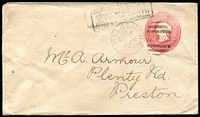 "Lot 897 [1 of 2]:1892 1d Carmine Error of Colour Envelope probably for user E Fox Stieg #KB14, addressed to Preston with mss ""Not Known at"" & 'PRESTON SOUTH' straight-line handstamp on reverse and Dead Letter Office/Melbourne datestamp in magenta, some wrinkling on reverse."