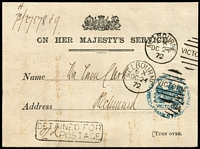 "Lot 1168 [1 of 2]:Commissioner Of Crown Land And Survey: vert fine strike in blue on Office of Lands and Survey printed postcard to Richmond with fine strike of Melbourne 'DC24/72' duplex, 'DETAINED FOR/""2d"" POSTAGE' handstamp on face and on reverse 'DLB' handstamp in green. Die1."