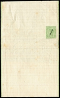 "Lot 900:1885 1d Sage Green Stieg #E8 (Watermark inverted & reversed) with diagonal Stieg Type 3b seriffed 'SPECIMEN' overprint, some edge blemishes & condition issues. [Stieg states ""No known specimen (or CTO) copies of this wrapper""]"