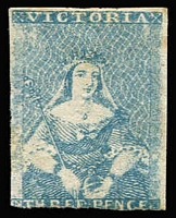 Lot 866:1850-53 Half-Length Ham 2nd State 3d blue SG #7, just cut-into at base, very mild aging, Cat £4,750. [Aproximately 20 unused stamps have been recorded, (many with significant faults), this being one of the more attractive examples]