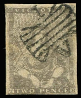 Lot 867:1850-53 Half-Length Ham 4th State 2d grey [Pos 6] SG #15b, minor tonespot, margins largely complete (just shaved at base), tidy Butterfly '1' cancel, Cat £425.