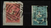 Lot 1144 [2 of 2]:1854-57 Half-Length Campbell & Fergusson Selection comprising [1] 1d lilac-rose SG #28b tied to small piece by BN '4' cancel, SG #28b; [2] 3d greenish-blue SG #29a with BN '97' cancel; [3] 3d milky blue SG #30a plus imperf 1d Emblems SG #64 tied to piece by BN '1' cancel. (3)
