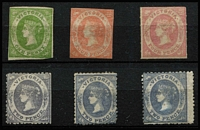 Lot 871 [2 of 2]:1857-63 Unused Emblems Selection comprising 1857 imperf Wmk Large Star 1d yellow-green (complete margins), 1d deep green and 4d dull red, 1858 rouletted 4d dull rose-red on vertically laid paper, 1860-63 Wmk single-lined '2' P12 2d reddish-lilac, 2d grey-violet & 2d slate, condition fair to fine unused, Cat £2,200+. (7)