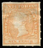 Lot 872:1857 Rouletted By Calvert 6d orange-yellow, SG #57, thinned area at top, unused and very rare thus. Unpriced in SG.