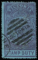 Lot 876:1884-96 Stamp Duty Litho 1st V/Crown Perf 13 £7 violet/blue Wmk uprightv, SG #250, faint ironed-out crease, unusually without pinholes, bogus Melbourne duplex cancel, Cat £200 (fiscal cancel), fine example.