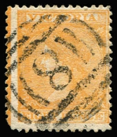 Lot 1244 [1 of 3]:Numeral Cancels Selection mostly fine or very fine strikes including BN '8' on 8d orange Laureate (SG #112, Cat £110), BN '49' on imperf 1d Emblems SG #64 (thinned), BN '57' Type A2 (Rated 2R) & Type A1 both on perforated 1d Emblems, etc. (10 items)