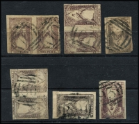 Lot 1245 [2 of 2]:Selection Of Barred Numeral Cancels On 2d QOTS comprising '10' (twin strikes on pair), '61' (on pair), '70', '80' (fine strike on pair & on single), '93' and '97', quality of strikes good to fine. (7 items)