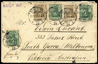Lot 930 [2 of 2]:English Mail TPO: (A1) fine strike of 'ENGLISH MAIL T.P.O./IN/26.11.07' double-ring datestamp Molnar #EMTPO-In3 on reverse of 1907 (Oct 23) cover from Berlin.