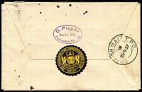 Lot 930 [1 of 2]:English Mail TPO: (A1) fine strike of 'ENGLISH MAIL T.P.O./IN/26.11.07' double-ring datestamp Molnar #EMTPO-In3 on reverse of 1907 (Oct 23) cover from Berlin.