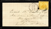 Lot 959:1874 (Apr 17) scarce 2d inter-colonial rate mourning cover sent to Sydney with 2d chrome-yellow partly tied by crisp strike of Albany 'AP17/1884' datestamp. Fine condition.