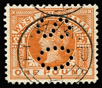 Lot 1275:1902-12 Wmk V/Crown Perf 12½ or 12½x12 £1 orange-brown perf 'OS' variety Colour flaw on inner frame below 'ND' of 'POUND' BW #W66bd, very well centred, superb used with Perth datestamp. Premium example of a rare official stamp with listed flaw, extrapolated Cat $1,600.