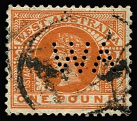 Lot 950:1902-12 Wmk V/Crown Perf 12½ or 12½x12 £1 orange-brown perf 'WA', faint corner bend, indistinct cancel. Seldom offered.