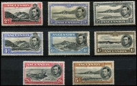 Lot 982 [2 of 3]:1938-47 Pictorials ½d to 10/- set SG #38-47, 4d to 1/- without gum, some values with streaky gum characteristic of 1938 printings, hinge remnants, generally fine mint, Cat £250. (16)