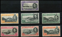 Lot 982 [3 of 3]:1938-47 Pictorials ½d to 10/- set SG #38-47, 4d to 1/- without gum, some values with streaky gum characteristic of 1938 printings, hinge remnants, generally fine mint, Cat £250. (16)